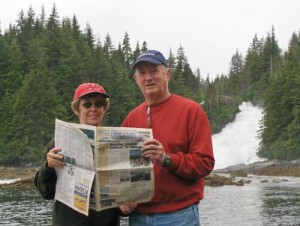 Mr. and Mrs. Bradford Simmons at Baranoff Island, Alaska