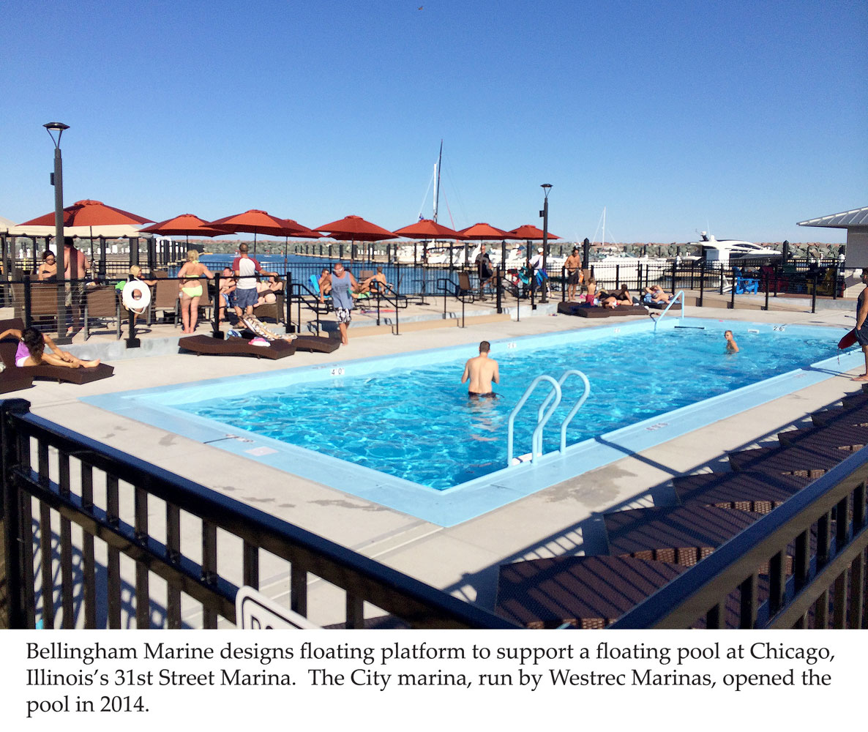 Bellingham Marine designs platform for floating swimming pool at Chicago marina