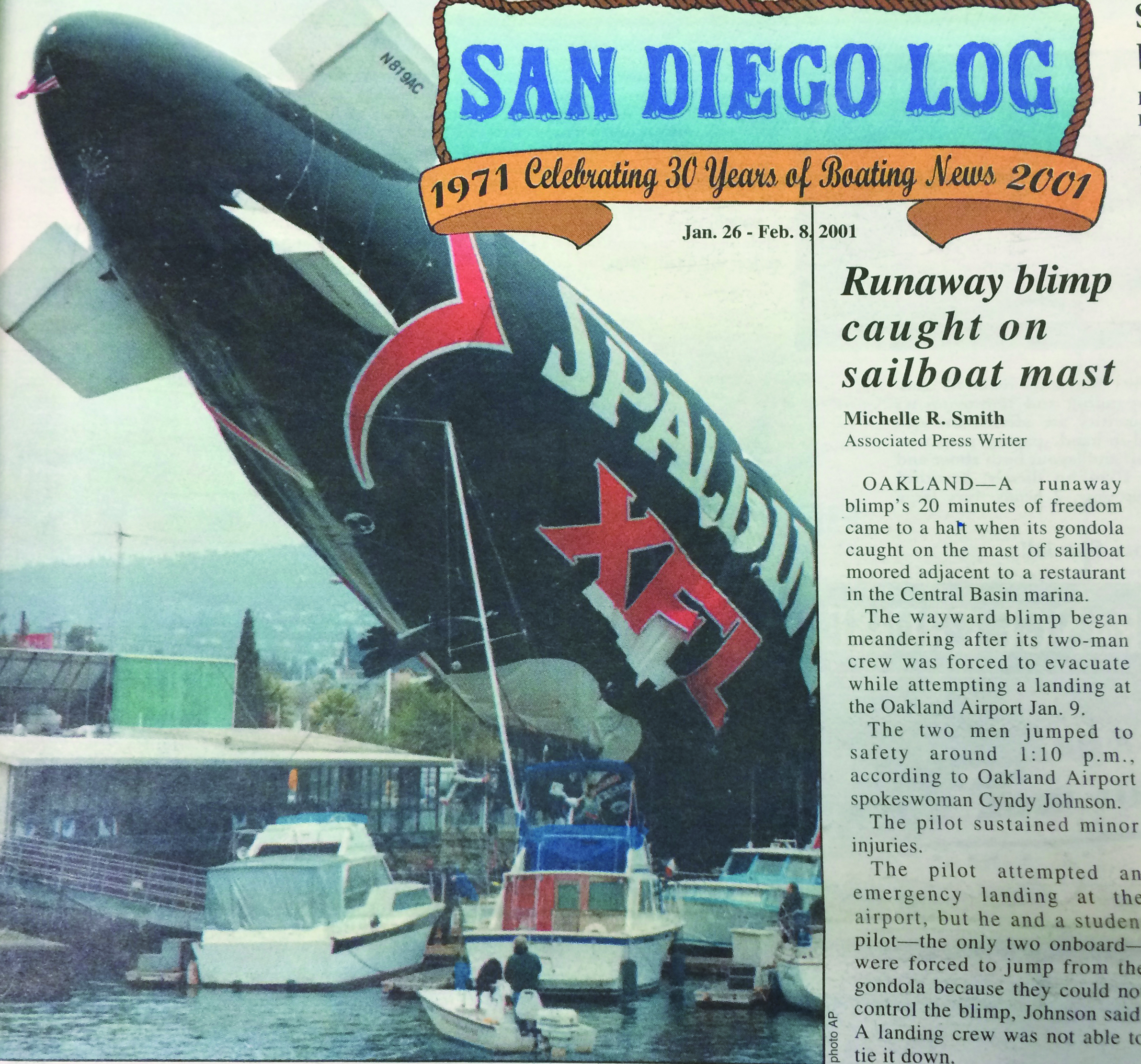2001: Runaway blimp caught on sailboat mast