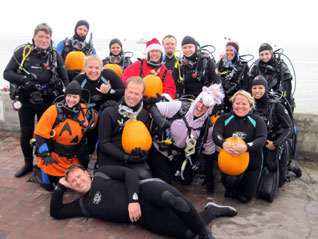 Divers Return for Underwater Pumpkin Carving