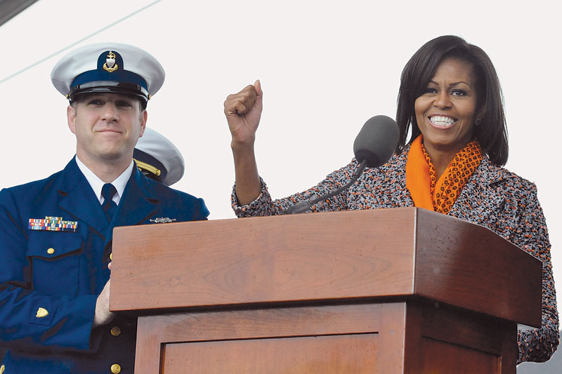 First Lady Helps Commission USCG Cutter