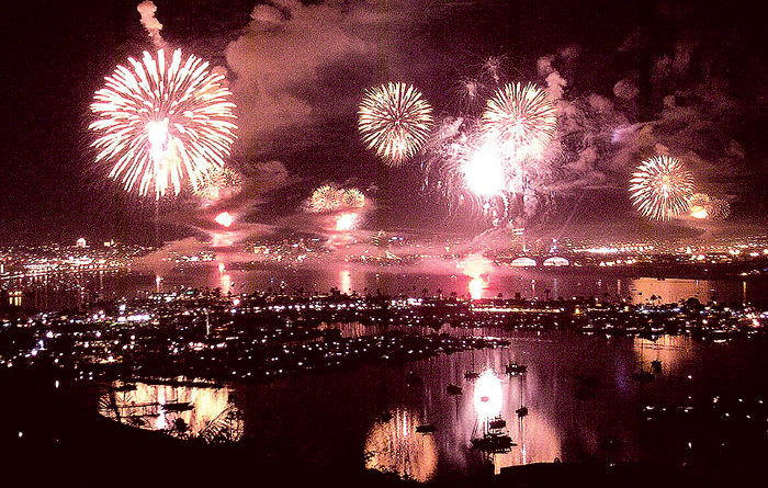 Waterfront Fireworks Light Up SoCal Skies