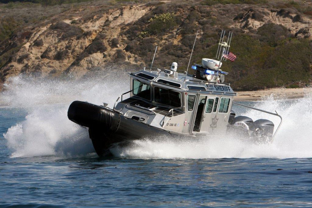OC Sheriff's Harbor Patrol secure shorelines with interdiction vessel