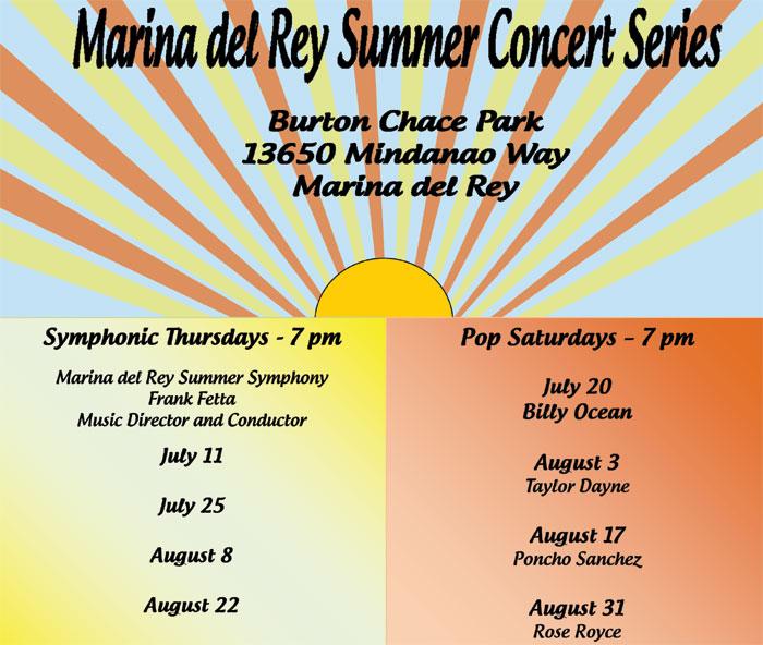 Marina del Rey Announces Summer Concert Lineup