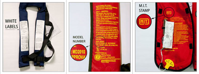Mustang MD2010/MD2012 Inflatable PFDs Recalled