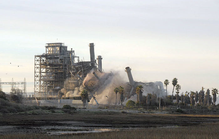 South Bay Power Plant Comes Crumbling Down