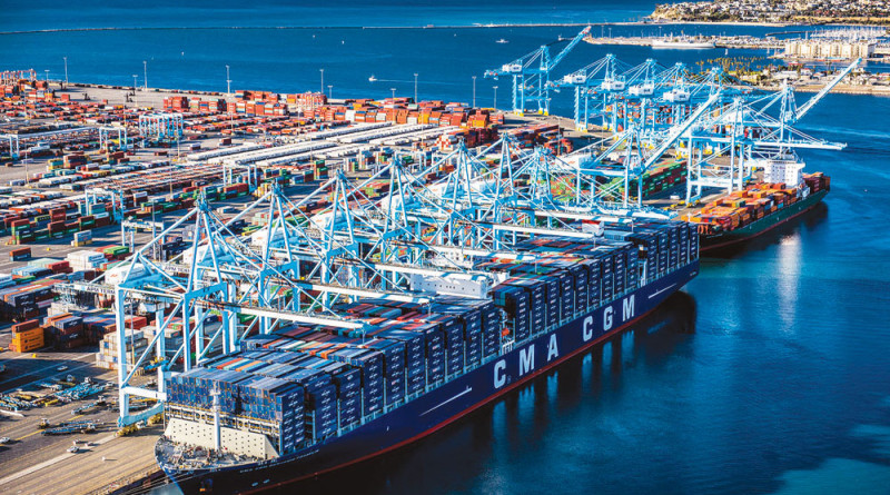 Largest container ship docks at Port of LA