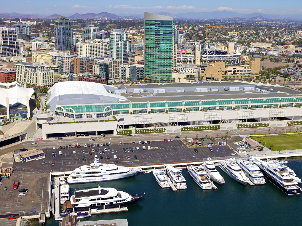 Downtown San Diego has become a destination for superyachts and megayachts stopping over in the Southern California city en route to Mexico or Alaska. City and port officials marketed San Diego to luxury yacht owners as an ideal stop during long navigations up and down the Pacific Ocean coast. Photo courtesy Fifth Avenue Landing