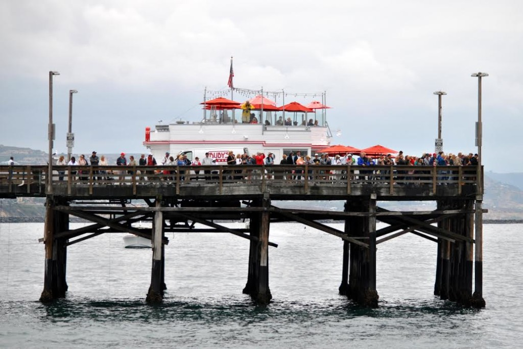 A crowd of spectators gathers at the Newport Pier to cheer on racers at the start of the race. Laurie Morrison for NOSA photo.