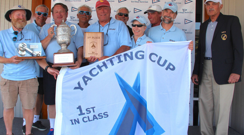 Crewmembers of Rival celebrate their overall win of the 2016 Yachting Cup during the trophy presentation ceremony where Commodore Doug Werner and Regatta Chair Julie Servais presented awards to class top finishers.Joysailing.com photo