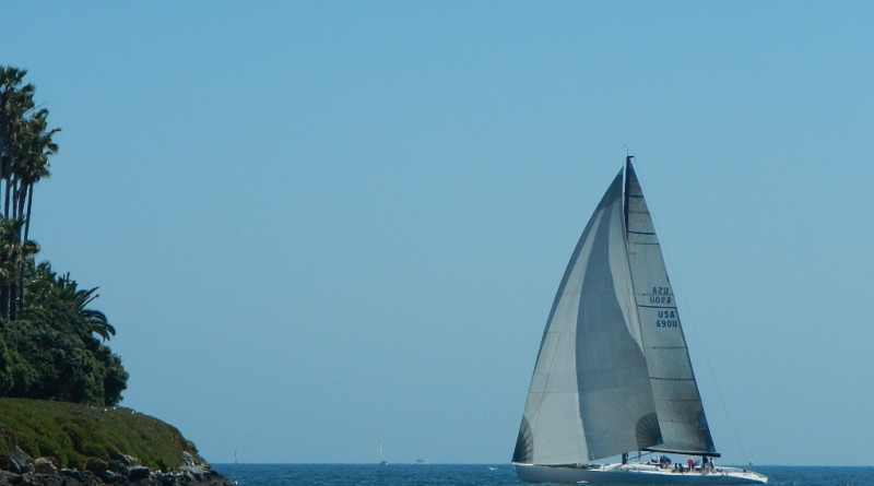 Zephyrus approaching the last mark during the March 26 George Griffith Race.  Los Angeles YC photo