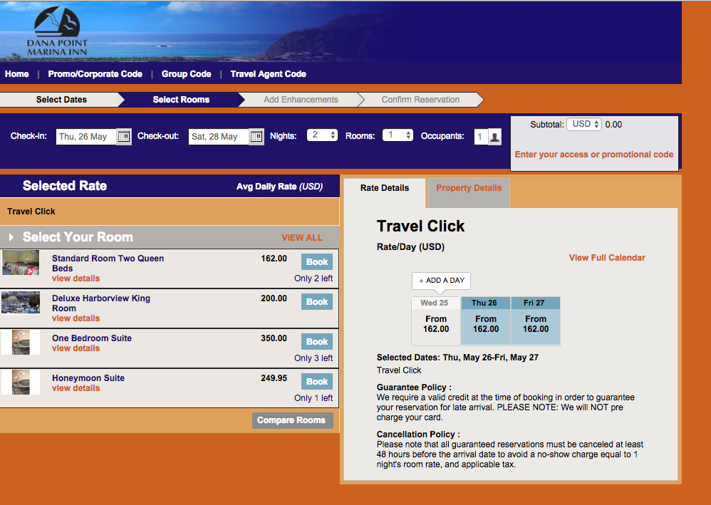 A screenshot of hotel rates at Dana Point Marina Inn for May 26-27.