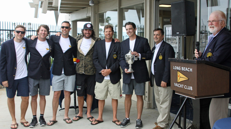 Long Beach Yacht Club's winning team pictured left to right: Ian Paice, Dustin Durant, Mike Lowe, Ben Wheatley, John Busch and skipper Shane Young with Long Beach YC Vice Commodore David Westerfield and Long Beach YC Port Captain, and this year's regatta chair, Charlie Legeman pose with the historic San Francisco Perpetual Challenge Trophy at the 2016 San Francisco Perpetual Challenge Cup.