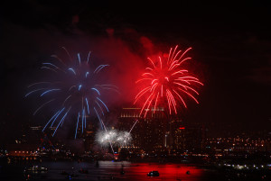 Red, white and blue colored fireworks will light up San Diego Bay during the show that can be seen from a boat or on land. Port of San Diego photo