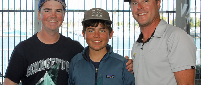 Jack Reiter, at left, and Jack Egan, center, show off their trophies with PRO Jess Gerry after winning the 2016 Long Beach Yacht Club Junior Match Race Invitational. Rick Roberts photo