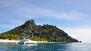 The couple enjoyed dropping anchor in crystal clear waters and exploring isolated islands. They completed their sail aboard their Lagoon 440 catamaran. Dietmar Petutschnig photo