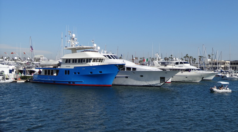 : About 10 superyachts over 80 feet were exhibited at the San Diego International Boat Show in June.Capt. Nicole Sours Larson photo