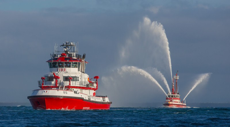 Fireboat 20 (Protector) arrives at the Port of Long Beach.