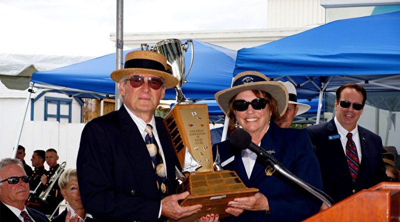 Garry Adalian holds the Yachtsman of the Year award with Coronado Cays Yacht Club Commodore Dianne Durgin.Coronado Cays YC photo
