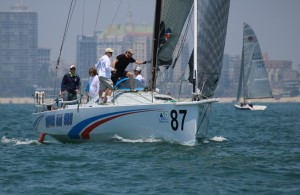 Barry Senescu for Dana Point Yacht Club at the helm of Yippee Kai Yay on a Random Leg during Long Beach Race Week.Bronny Daniels photo