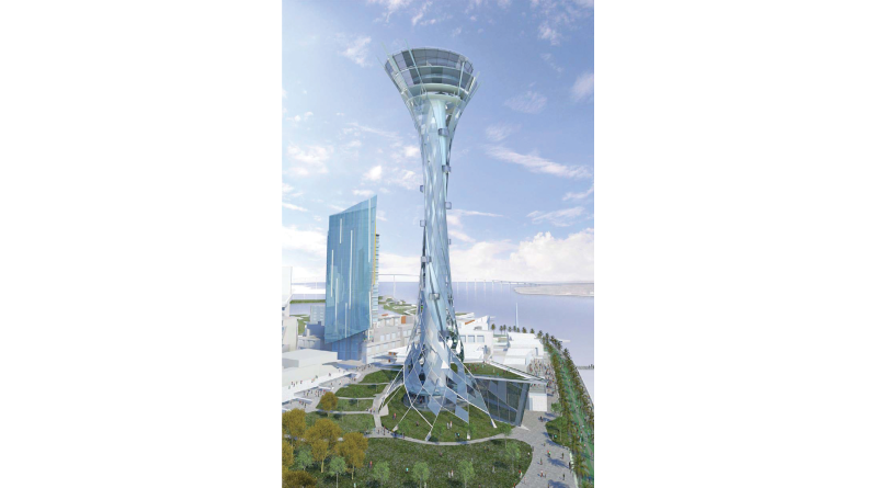 The Seaport project calls for a Spire that would carry visitors 500 feet above the city to enjoy views of the bay. Plans also include an aquarium, hotel, restaurants, a public market, shopping, and parks with views of San Diego Bay, tidal pools, oyster beds and a public swimming venue.