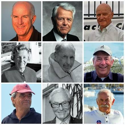 Left to right, top to bottom: Ed Baird, Malin Burnham, Bill Ficker, Electra Johnson, Irving Johnson, Bob Johnstone,  Rod Johnstone, Tom Perkins and Dave Ullman.NSHOF photo