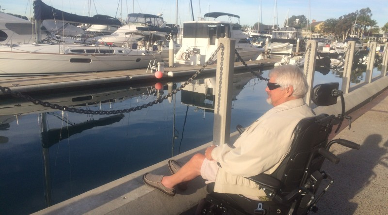 Key Guyer regularly enjoyed a cup of coffee while looking out onto Marriott Marquis's Marina. The dockmaster is retiring after 10-plus years of service at the marina.Ken Guyer photo