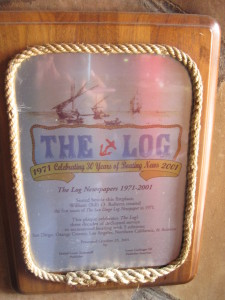 William O. Roberts started The Log at a table situated near the fireplace at the Red Sails Inn in 1971. The plaque by the fireplace commemorated the restaurant as The Log's birthplace. Ambrosia Brody photo