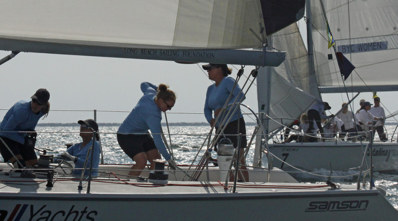 Shala Youngerman (at helm) and her Southwestern Yacht Club team are closely followed around the course by Lisa Meier and Wendy Corzine's Long Beach Yacht Club Women's Sailing Team in the 2015 Linda Elias Memorial Women's One-Design Challenge.Rick Roberts photo