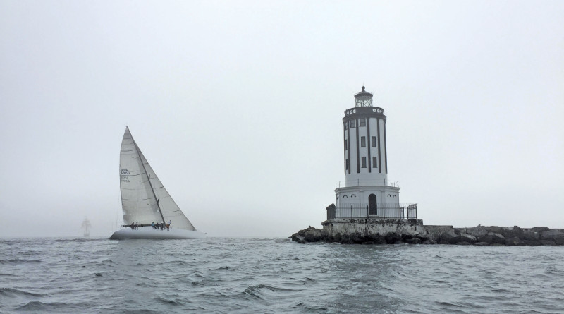2017 Midwinter Around Catalina Island Race is scheduled for Feb. 4. This photo, from the 2016 Around Catalina Race, shows Zephyrus leaving Angel's Gate.