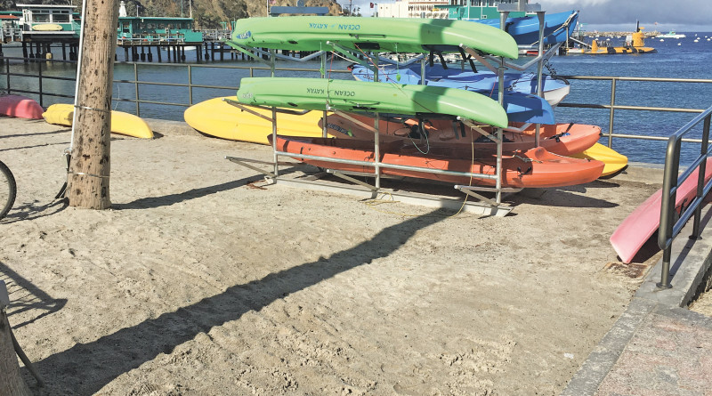 kayak rack at Knabe Park on Catalina Island