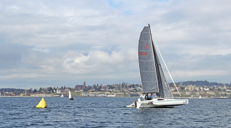 Team Sistership off port townsend sailing in the Race to Alaska R2AK