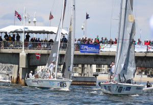 Spectators view the competition of the Congressional Cup match races from The Long Beach Belmont Veterans Memorial Pier. (Betsy Crowfoot/LBYC photo)