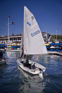 Students on board during the spring session of the Junior Sailing Program at BYC.