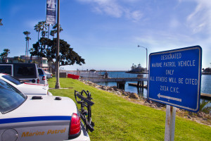 Marine Patrol designated parking in Alamitos Bay (photo by Nina K. Jussila)