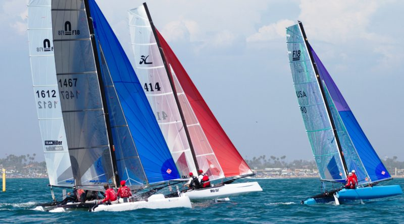 Sailors on catamarans practicing for the Formula 18 Americas Championship taking place in Long Beach, Sept. 6-9.
