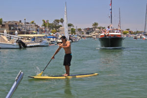 standup paddleboarder in Newport Beach Harbor