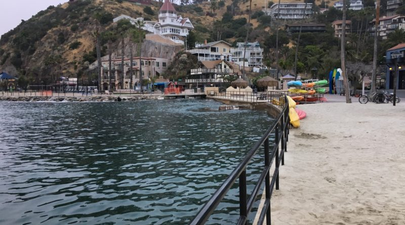high tide at South Beach Catalina Island Avalon