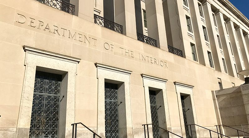 Exterior of the main office building, entrance to the United States Department of the Interior.